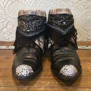 Black Label Exotic Lizard Tony Lama Cowgirl Boots